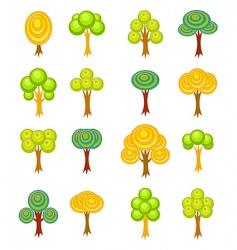 cartoon trees icons vector image