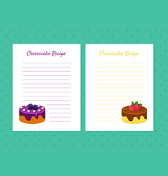 cheesecake recipe cookbook design templates card vector image