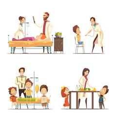 Childrens hospital 4 cartoon icons set vector