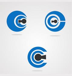 circle key logo concept element icon and template vector image