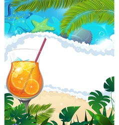 Cocktail on tropical background vector image