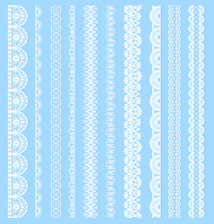 Collection horizontal laces black seamless borders vector