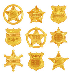 Collection of different sheriff s golden badges in vector