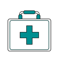 Color silhouette image cartoon first aid kit with vector