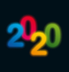colorful halftone design element for new year 2020 vector image