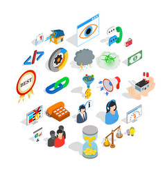 conference center icons set isometric style vector image