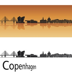 Copenhagen skyline in orange background vector
