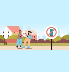 Couple walking urban park no cellphone zone vector