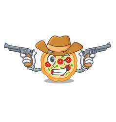 Cowboy margherita pizza in a cartoon oven vector