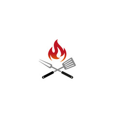 creative barbecue kitchen utensils fire logo vector image