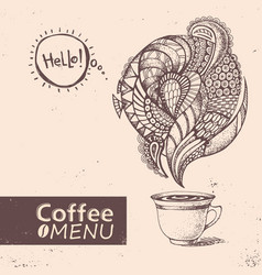 Cup of coffee menu design vector
