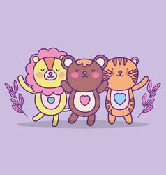 cute animals cartoon flat design vector image