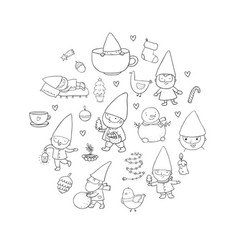 cute cartoon gnomes new year set christmas funny vector image