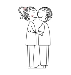 cute couple love icon vector image