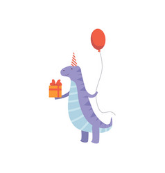cute dinosaur in party hat with gift box and vector image