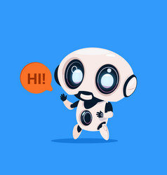 Cute robot say hi isolated icon on blue background vector