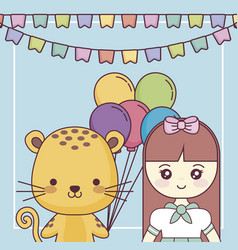 Cute tiger with little girl happy birthday card vector
