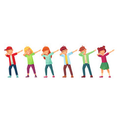 dabbing kids teenagers in dab dance pose school vector image