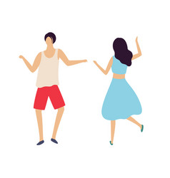 dancing people man and woman dancers in club vector image