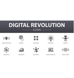 Digital revolution simple concept icons set vector