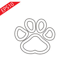 Dog paw scetch isolatedflat vector