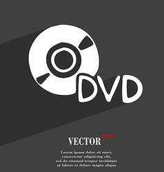 Dvd icon symbol Flat modern web design with long vector