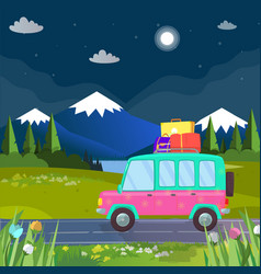 family travel by car at highland holiday trip vector image