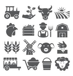 farm icons set on white background vector image