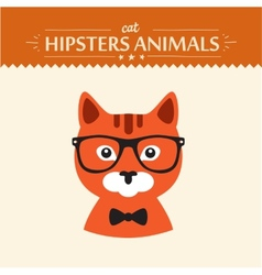 Fashion Portrait of Hipster Cat with glasses and vector
