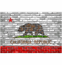Flag of california on a brick wall vector