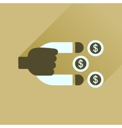Flat icon with long shadow money magnet vector