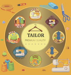 flat tailor tools round concept vector image