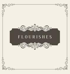 flourishes frame vintage ornament greeting card vector image