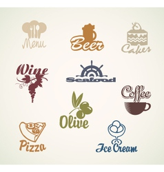 food and drinks signs vector image vector image