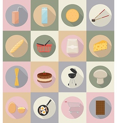 food objects flat icons 20 vector image