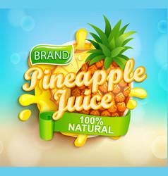 Fresh pineapple juice label vector