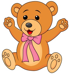 Funny baby bear cartoon waving vector image