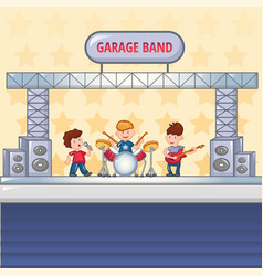 garage rock band concept background cartoon style vector image