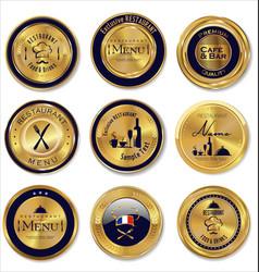 Gold and dark blue restaurant labels vector