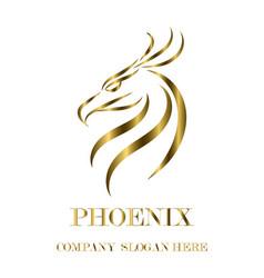 gold logo phoenix head eps 10 vector image