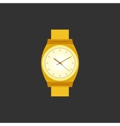 Golden wrist Watch on black field vector image