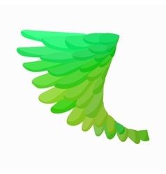 Green bird wing icon cartoon style vector
