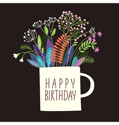 Greetings card Happy Birthday vector image