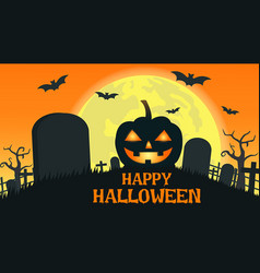 halloween background with smile pumpkin devil vector image