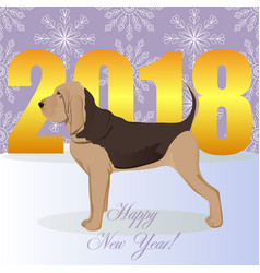 Happy new year card with bloodhound vector