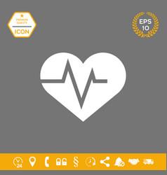 Heart with ecg wave - cardiogram symbol medical vector