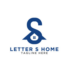initial letter s and house logo design template vector image
