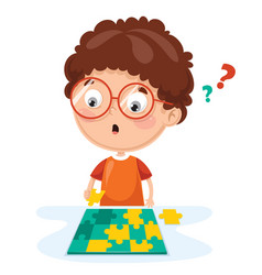 kid playing puzzle vector image