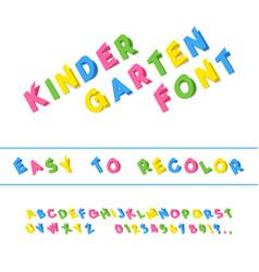 kindergarten font folded paper cut typeface vector image