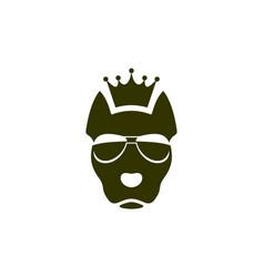 king dog logo icon concept vector image